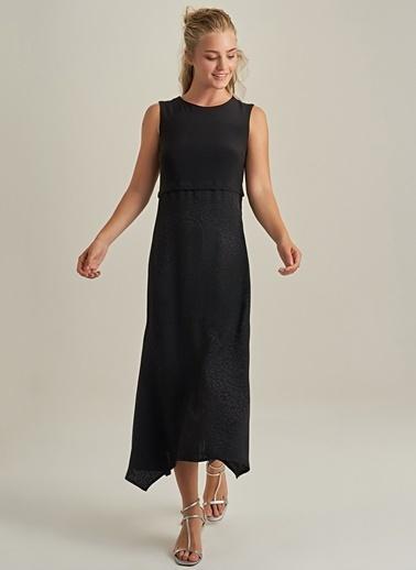 NGSTYLE Leopar Desenli Elbise Siyah